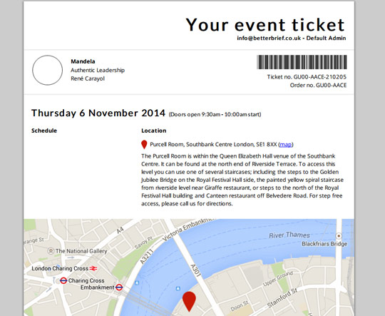 Event system: Ticket generated to PDF